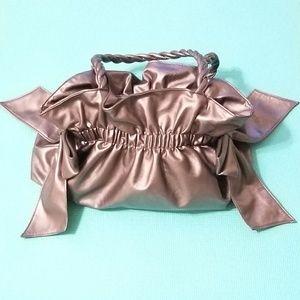 Adorable Metallic Silver Faux Leather Bow Purse
